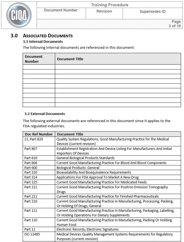 cGMP Training Procedure Template SOP page 3
