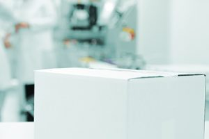White box at automated production line at modern factory - ready for your logotype